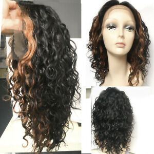 "12A Curly Wavy Hair Lace Frontal Wigs 17"" Golden Bangs Brazilian Human Hair Wig"