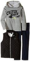 Calvin Klein Boys Black Quilted Vest 3pc Denim Pant Set Size 2T 3T 4T 4 5 6 7