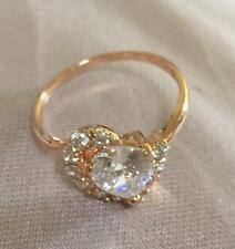 18k ct Yellow Gold Filled Heart Shape Women's Ring with Zircon Stone - Size 7