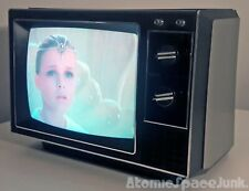 "RCA VINTAGE TELEVISION SET 1985 13"" COLOR TV XL-100 SPACE AGE SILVER CABINET"
