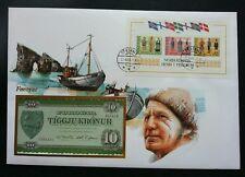 Faroe Islands Occasions Traditional Costume 1985 Ship Fdc (banknote cover) *rare