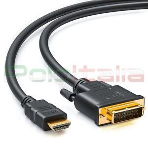 Kabel 2m Da Dvi-D Single Link 18+1p An HDMI Stecker Gold Konverter Adapter Av