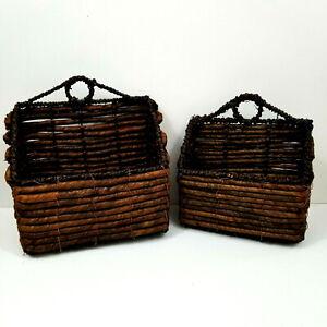 Set Of 2 Wicker Wall Basket Wall Pocket Farmhouse