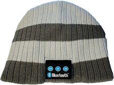 Wireless Bluetooth Toque Cap Headphone Head Speaker Mic Beanie Hat Gray Stripe