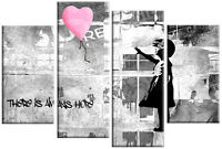 BANKSY GIRL WITH PINK BALLOON CANVAS PICTURE PINK GREY SPLIT WALL ART 100cm