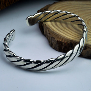 Solid 925 Sterling Silver Heavy Open Torque Bangle Cuff Bracelet Mens Jewelry