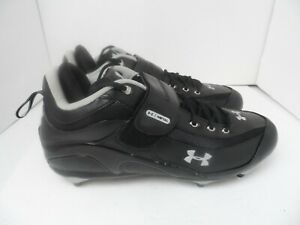 Men's Under Armour Football Cleats Shoes Dual Plate Black/Silver - Size 14 - NEW