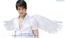 FashionWings White wide spread costume feather angel wings halo set adult unisex