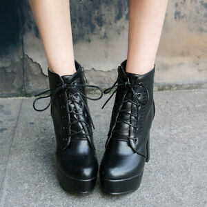 Womens Punk Round Toe Lace Up Ankle Boots Platform Block Heels Knight Shoes Size