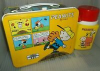 RARE 1980 Peanuts Metal Lunch Box & Thermos Comic Strip Cartoon  Great Lunchbox!