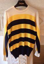 Ermenegildo Zegna 100% Wool Sweater Navy Yellow Ivory