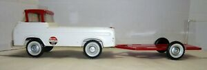 VINTAGE 1960'S NYLINT #5900 FORD RACETEAM PICKUP TRUCK W/FLATBED TRAILER