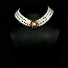"NATURAL PINK RUBY & CREAMY WHITE PEARL NECKLACE 15"" 925 SILVER STERLING"