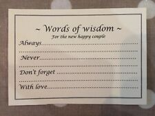 Wedding Words Of Wisdom Cards Wedding Advice 225gsm Pink/ivory