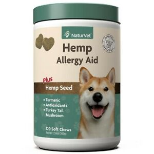 120ct NaturVet Allergy Aid HEMP Soft Chew for Dogs