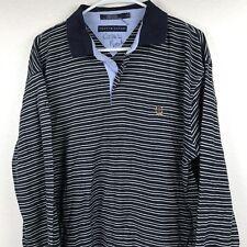 Tommy Hilfiger Striped Green Navy Blue Crest 90s Flag Logo Polo Sweater XL #2J