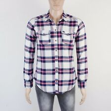 A&F Mens Size S Blue Pink Check Long Sleeve Shirt