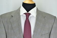 Hickey Freeman Boardroom Tasmanian Loro Piana S130s Wool Gray Plaid Suit Sz 41S