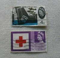 FRANCOBOLLI regno unito 2x commemorations battle of england centenary red cross
