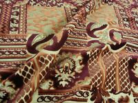 """One Yard Fancy CUT VELVET  Red UPHOLSTERY FABRIC Cranberry Gold 58"""" x 36"""" BTY"""