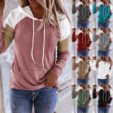 Women Long Sleeve Pullover Casual T Shirt Splice Hooded Blouse Loose Pocket Tops