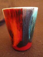 """VINTAGE POOLE DELPHIS' LIVING GLAZE 4"""" H TUMBLER VASE ROUGE/BLUE  c.1990's Mint"""