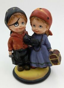Halloween Table Piece Girl Fortune Teller,Boy Pirate Resin Figurine 2009