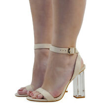 Womens Perspex Clear Heel Ankle Strap Buckle Ladies Party Prom Sandals Shoes 3-8