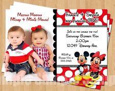 10 Mickey Minnie Mouse Twins Polka Dot Birthday Invitation 1st 2nd 3rd 4th CUTE