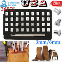 36pcs Steel Metal Stamps Letter Alphabet Numbers Set Punch Leather Tool Kits US