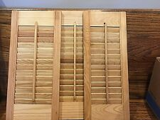 """(3) Unfinished Interior Pine Wood Louvered Shutters / Odd Lot 8"""",9"""",10"""" X 20"""""""