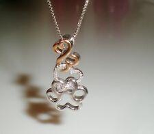 ZALES Jane Seymour 10K RG SS Paw Print Open Heart Diamond Necklace JARED KAY 🐾