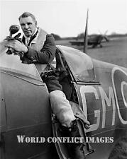RAF WW2 Spitfire Supermarine Pilot Capt Sailor Malan 8x10 Photo No 145 Wing WWII