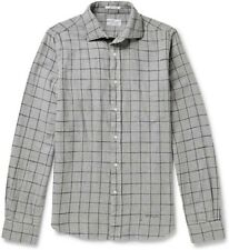 Mens Gant Rugger Windowpane-Check Grey Slub Cotton-Flannel Shirt Size Small
