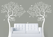 2 x 7FT. LARGE Wall Decal TREE WITH BIRDS Deco Art Sticker Mural - COLOR WHITE
