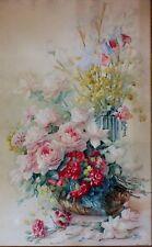 grande aquarelle bouquet fleurs roses signé Rosenstock