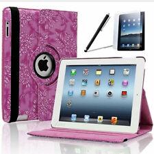 iPad 2 iPad 3 iPad 4 Schutz Hülle Blumen Tasche 360° PU-Leder Smart Cover Case