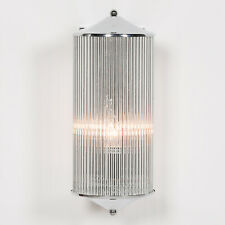 Chrome Fluted Column Glass Rods Pilar Art Deco Cinema Wall Light Sconce Lamp