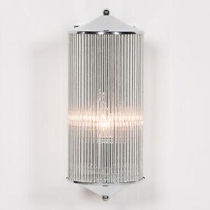 Chrome Fluted Column Glass Rods Pilar Art Deco Cinema Wall Light Sconce Lamp