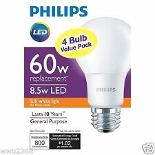 Philips 46031 60W Equivalent Soft White A19 LED Light Bulb ( 4 - pcs )