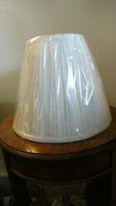 New Small Pleated White Vinyl Lampshade for Harp
