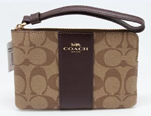 New Coach Signature Wristlet Wallet Corner Zip Black Khaki W/ Gift Box & Bag $75