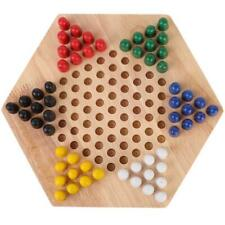 Wooden Educational Board Kids Classic Halma Chinese Checker Set Family Game T
