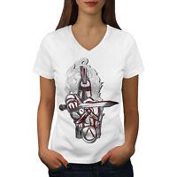 Wellcoda Knight Spartan Fantasy Womens V-Neck T-shirt, Rise Graphic Design Tee