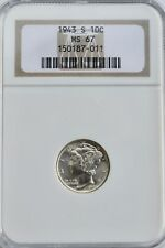 1943 S MERCURY DIME 10c NGC MS67 United States 10 cent coin