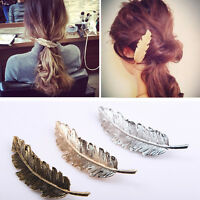 Boho Women Hair Accessory Leaf Feather Hair Clip Hairpin Barrette Bobby Pins