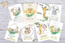Baby Milestone Cards Safari Animals Unisex Pack of 34 Baby Shower Gift New Mum t
