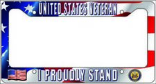 VETERAN US Navy - I PROUDLY STAND License Plate Frame