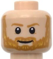 Lego New Light Flesh Minifigure Head Dual Sided Bearded Beard Male Face