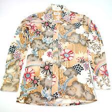 Vtg Roos Atkins Shirt Blouse MEDIUM Fun Retro Look Clouds Birds Flowers Rainbows